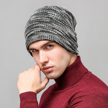Men Women Wool Knited Beanie Hat Thick Warm Stripe Bonnet Outdoor Windproof Caps