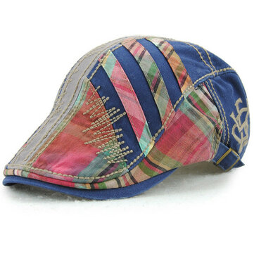 Cotton Stripe Washed Beret Hat Buckle Newsboy Cabbie