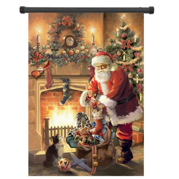 30x45cm Noel Polyester Noel Baba Karşılama Bayrağı Bahçe Tatil Dekorasyonu
