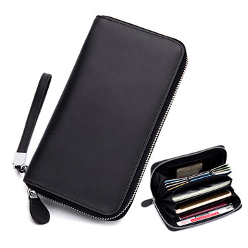 Women Men Genuine Leather Multi-slots Card Holder Wallet