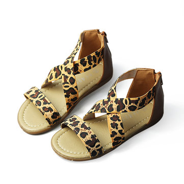 Girls Leopard Sandals Kids Summer Dress Shoes Children Cross Elastic Band Rhinestone Huarache