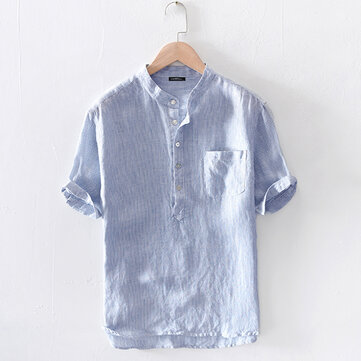 Mens Summer Casual Comfy Cotton Plus Size Henley Collar Striped Shirts