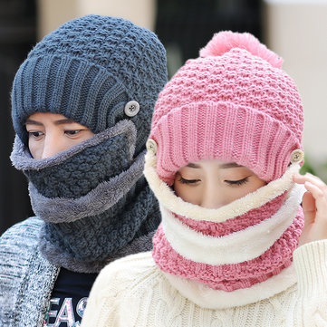 Women Knitted Winter Beanie Hat Collar Scarf Set Thickening Warm Outdoor Skullies Hats With Mask