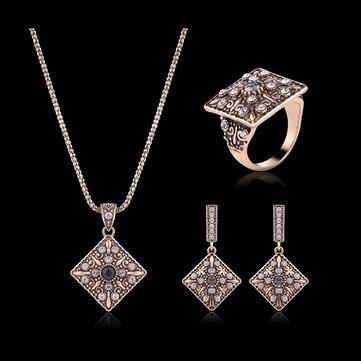 터키 시리즈 크리스탈 목걸이 다이아몬드 반지 레트로 귀걸이 선물 쥬얼리 세트