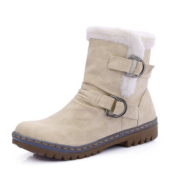 US Size 5-12 Women Fur Lining Keep Warm Buckle Cotton Snow Boots