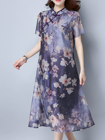 Floral Printed Short Sleeve Plate Buckle Women Dresses