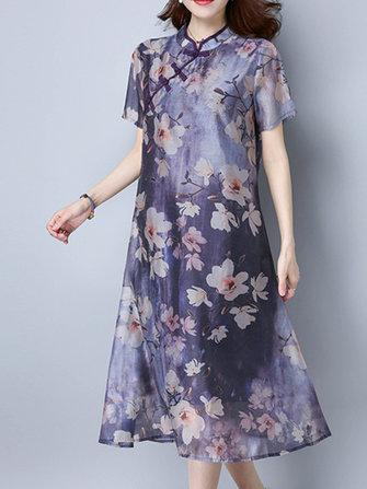 Manica corta stampata floreale Piatto Abiti donna fibbia