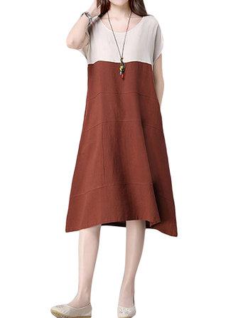 Mulheres casuais costura do vintage manga curta vestido solto