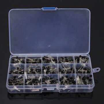 600Pcs TO-92 NPN PNP Bipolar Transistor 15 Value Assortment Kit