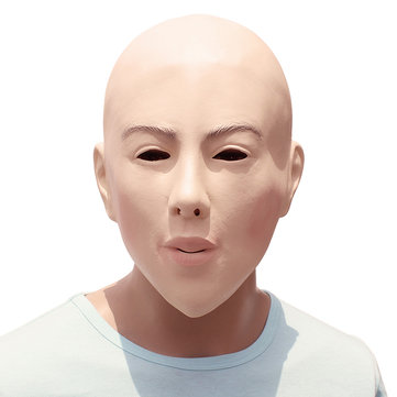 Halloween Female Face Bareheaded Mask Full Head Costume Cosplay Latex Props