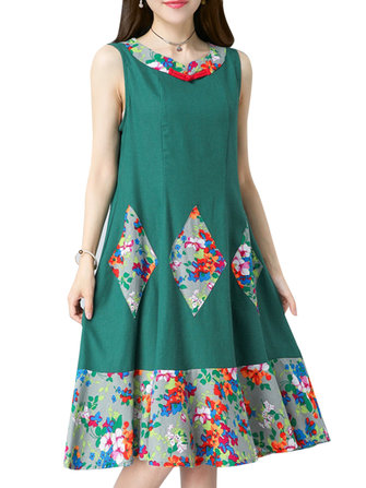 Green Women Floral Printed Patchwork Sleeveless Slim A-Line Dress