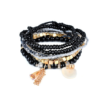 Bohemian Bracelet Crystal Beads Tassel Multilayer Bracelets for Women