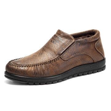 الرجالمريحةالجلودالدافئةالفراءبطانة عالية أعلى أوكسفورد الأحذية