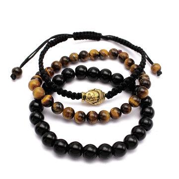 Bouddha Lucky Agate Bracelet ajusté Tiger Eye Stone Chain Bracelet pour hommes Femmes