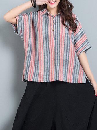 Women Stripe Lapel Loose Short Sleeve Vintage T-shirts