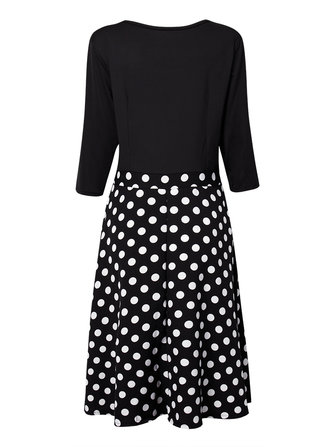 Elegant Women Sexy V Neck Polka Dots Patchwork A-line Party Dress