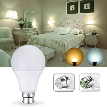 E27 B22 5W 10LEDs Warm White Pure White Light Control Bulb No Flicker Energy Saving AC85-265V