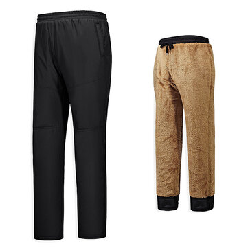 Men's Thick Fleece Warm Thermal Sport Pants Cotton Straight Legs Plus Size Business Trousers