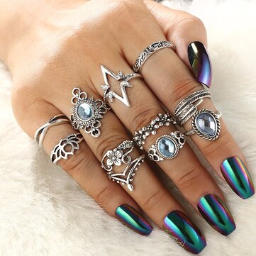 Retro Leaves Butterfly Ring Set 11 Pieces Rhinestone Rings Kit For Women Sliver Alloy Rings