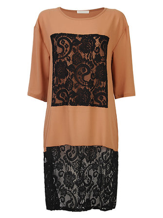 Casual Women Lace Patchwork O-Neck Half Sleeve Loose Shirt Dress