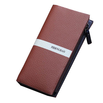 Men Long PU Big Capacity Zipper Card Holder Portable Wallet