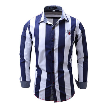 Stripe Printing Business Fashion Cotton Soft Casual Long Sleeve Men Dress Shirts