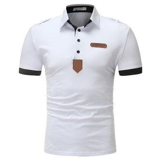 Men's Solid Color PU Leather Decorative Short-sleeved Golf Shirt
