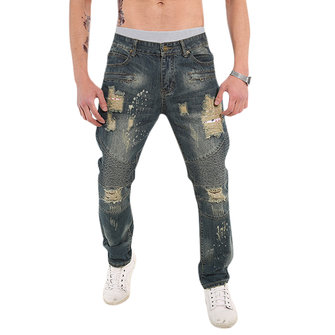 Mens Fashion Fold Casual Loose Biker Cotton Washed Holes Frayed Jeans Denim Pants