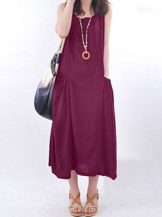 Vintage Women Sleeveless Pockets Loose Cotton Maxi Dress