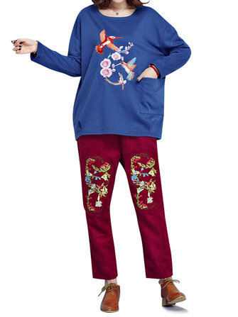 Vintage Loose Embroidery Long Sleeve Thick Women Sweatshirt
