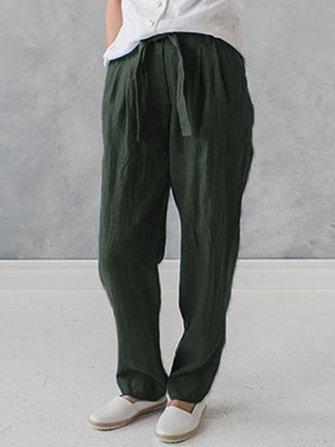 Women High Drawstring Waist Cotton Linen Pants