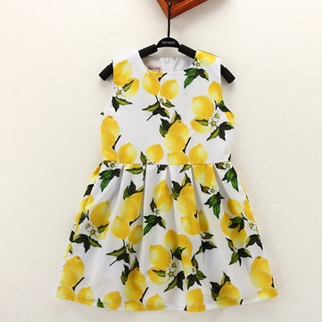 Kid Girls Lemon Printed Sleeveless Knee-Length Dress