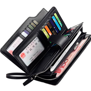 Men Leather Business Long Wallet Credit Card Organizer Wallet with 21 Card Slots Phone Bag