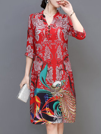 Elegant Floral Print 3/4 Sleeve Silk Dress