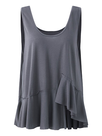 Loose Pure Color Dark Gray Sleeveless Tank Tops For Women