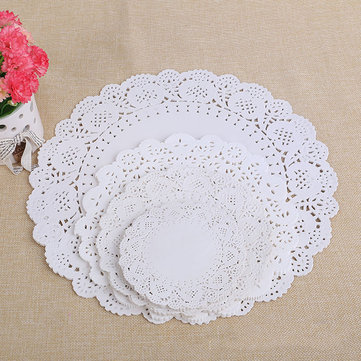 Honana 100pcs/Lot Hollow Round Lace Oil Absorbing Paper Cake Biscuit Decorative Bottom Paper DIY Baking Food Paper Pad Paper Party Wedding Supplies