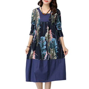 Elegant Women Leaf Printed Patchwork Button Cotton Linen Midi Dress