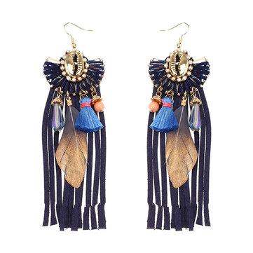 Women Bohemian Earrings Luxury Gold Plated Suede Tassel Pendant Elegant Feather Ear Drop Boho Gift
