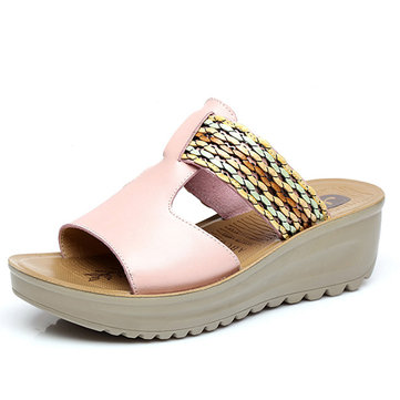 Women Leather Casual Summer Slip On Soft Comfy Wedge Sandals