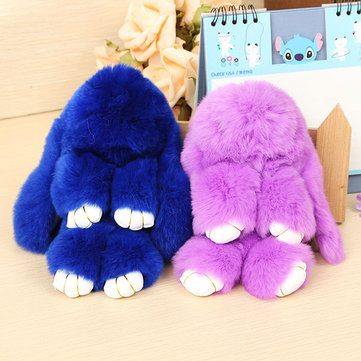 Cute Sleepy Rabbit Keychain Real Rabbit Fur Plush Bag Pendant Ornaments Accessories Gift For Kids