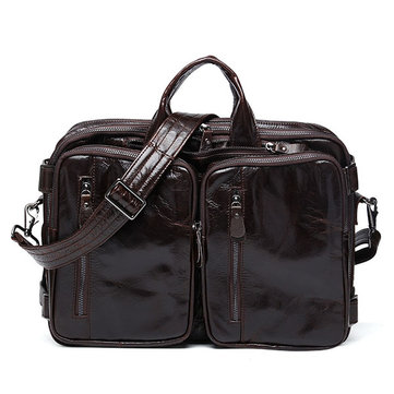 Multifunctional Genuine Leather Vintage Business Briefcase Handbag Backpack