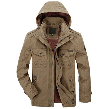 Mens Autumn Casual Military Hooded Jacket Outdoor Multi Pockets Coat