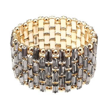 JASSY® Luxury Gold Plated Bead Bracelet Trendy Shiny Transparent Black Crystal Stretch Cuff Bracelet