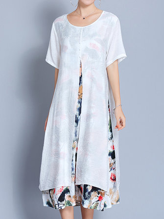 Women Vintage Dresses Fake Two Pieces Printed Short Sleeve Dress