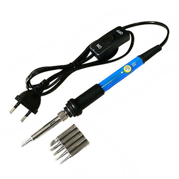 Buy 60W Switch Adjustable Temperature Soldering Iron Welding Station Tool Kit with 5Pcs Soldering Tips for $11.48 in Banggood store