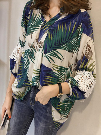 Casual Women Loose Floral Printed Hollow Up Lace Patchwork Shirts