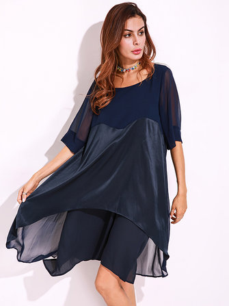 Plus Size Casual Women Chiiffon Splicing Dresses