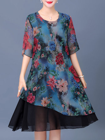 Elegant Women Floral Print Layered Dress