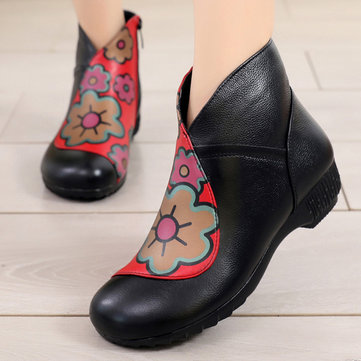 Genuine Leather Pattern Zippers Boots