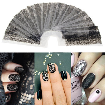20pcs Black Hollow Lace Nail Art Sticker DIY Design Salon Use Manicure Descoration